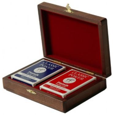 Две колоды карт в деревянной Rovertime RT-02