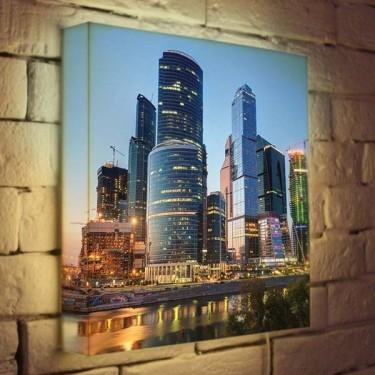 Лайтбокс для гостиной или офиса Москва-Сити BoxPop 35x35-100