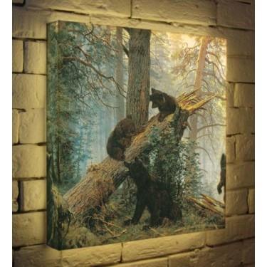Лайтбокс для гостиной или спальни Мишки в лесу BoxPop 45x45-152