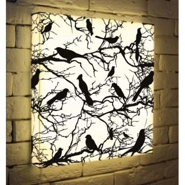 Лайтбокс для гостиной или спальни Птицы зимой BoxPop 45x45-021