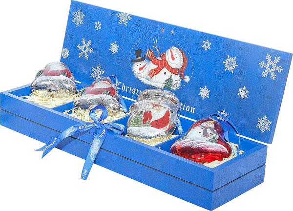Mister Christmas Набор украшений в деревянной коробке Mister Christmas 4 шт LH-B8-SET/4