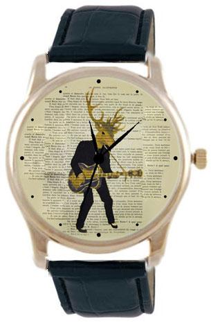 Shot Дизайнерские наручные часы Shot Concept Олень-гитарист черн. рем.