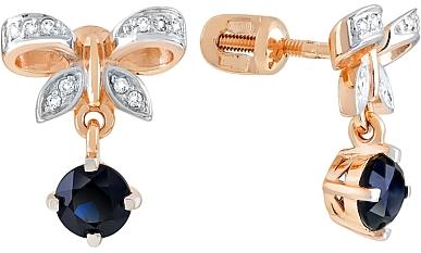 Магия Золота Магия Золота Пуссеты с бриллиантом и сапфиром 112597 магия золота пуссеты с сапфиром 26650